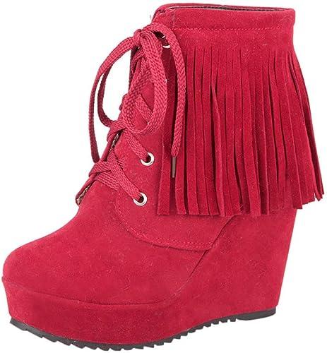 ZHRUI botas zapatos de mujer botas de mujer Moda con Cordones Borlas Tacón Alto Botines Cortos zapatos Casuales botas de Invierno Hauszapatos de Deporte (Color   rojo, tamaño   38 EU)