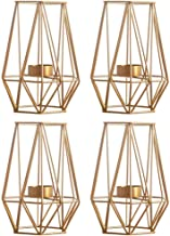 Set of 2 Large Gold Metal Pillar Candle Holders, Geometric Elegant Tealight Holders, Centerpieces for Wedding, Home Coffee...