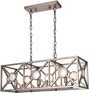 Rectangular Kitchen Island Lighting, A1A9 Antique Nickel Finish Pendant Light with 6-Lights Ceiling Lights Fixture for Kitchen, Foyer, Farmhouse, Pool Table Light, Dining Room, Size: L31