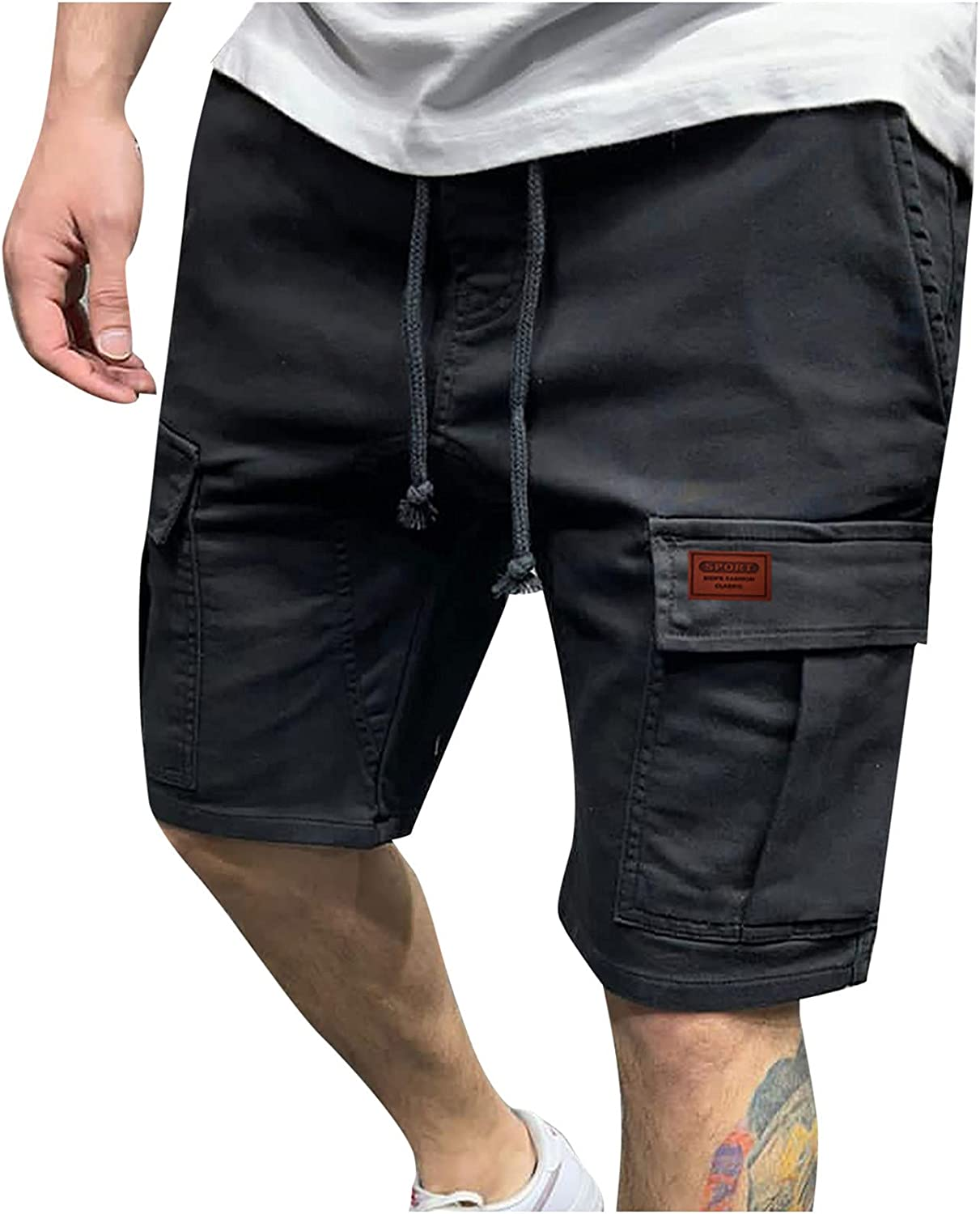 miqiqism Men's Cargo Shorts Drawstring Relaxed-Fit Above Knee Comfy Baggy Casual Shorts Cotton Shorts with Pockets