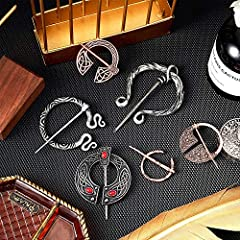 Hicarer 6 Pieces Vintage Viking Brooches Cloak Pins Scarf Shawl Buckle Clasp Pin Brooch Penannular Brooch for Men Women Costume Accessory, Antique Silver and Rose Gold #3