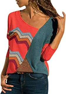 Hot ! Funic Women Long Sleeve Splicing Color Stripes Print Shirts Blouse Tops