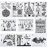 10pcs Set Plantillas Pintura Tema de Navidad Reutilizable con Diferentes Patrones Stencil Dibujo para Bullet Journal Scrapbooking Tarjeta Album (Estilo-2)