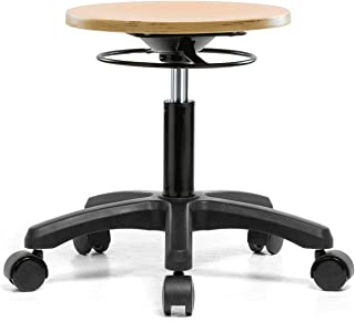 PERCH Wood Rolling Pneumatic Stool, All Around Adjustment Ring and Wheels for Hardwood or Tile Floors, Desk Height