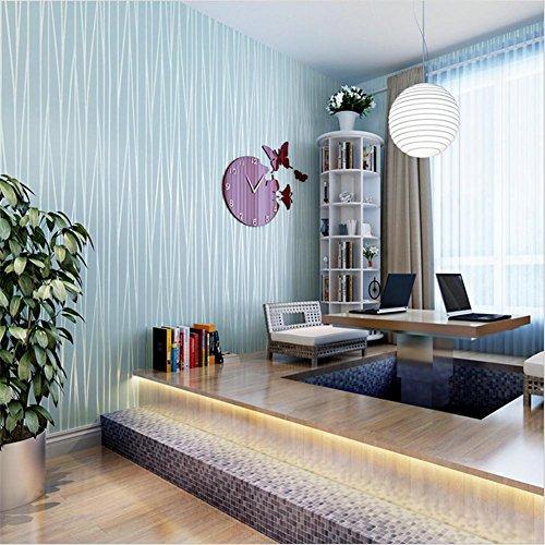 H&M Tapete dicker mediterraner Stil 3D Vliespapier Einfarbig Tapetendekoration Wohnzimmer Restaurant TV Wand Schlafzimmer Kaffeehaus Bekleidungsgeschäft Hotel Tapete (53 cm (W) x 5 m (L) , blue