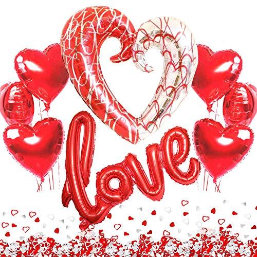 Kit Romántico de Globos, Globo Love XXL, 1 Corazon Gigante, 6 Globos Helio Corazón Rojo Decoración Romantica Día de San Valentín Bodas Nupcial Aniversario y Compromiso