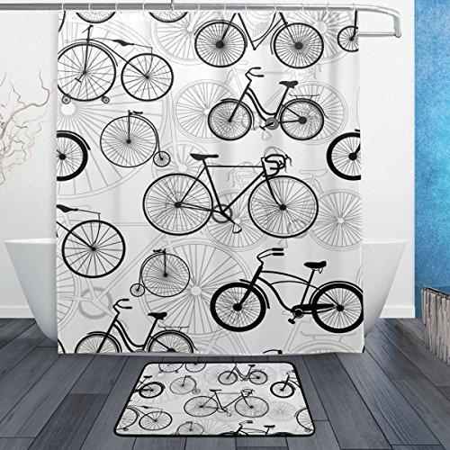 JSTEL Weiß mit Muster 3-teilig Badezimmer Set, waschbar, für den täglichen Gebrauch, 60x 40cm, wasserdicht, mit 12Haken, Anti-Rutsch-Teppich/-
