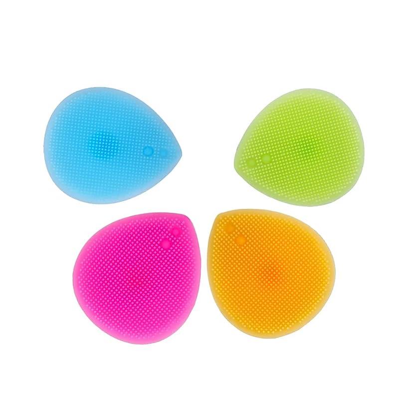 キャロライン民間ジェットHEALIFTY シリコーンブラシクリーナー4PCSメイクアップブラシクリーニングパッドリトルラバーマット(オレンジ+ローズ+ブルー+グリーン)