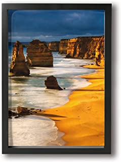 SRuhqu Canvas Wall Art Prints Australia Sunset Great Ocean Road Coast Cliff by Sea -Picture Paintings Modern Decorative Giclee Artwork Wall Decor-Wood Frame Ready to Hang