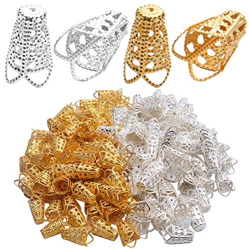 Aylifu Filigree Bead Caps,200pcs Golden and Silver Tone Hollow Bead Caps Flower Bead End Caps Spacers Jewelry Findings for Earring Bracelet Necklace Crafts Tassels Making,15x10mm