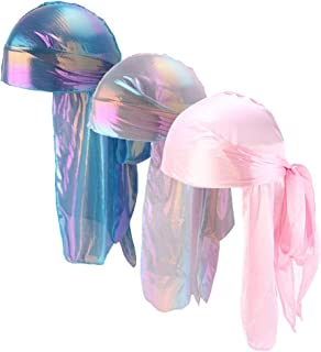 Silky Durags for Men/Womens Waves Cap,Extra Long-Tail Hologram Headwraps for 360 Waves