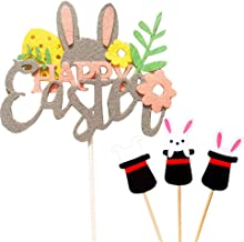 IUASZZ Easter Cake Toppers 3 Pieces Rabbit Magic Hats and Colorful Happy Easter Paper Felt Cute Cupcake Decoration Party Wedding Baby Birthday Supplies for Home Kitchen