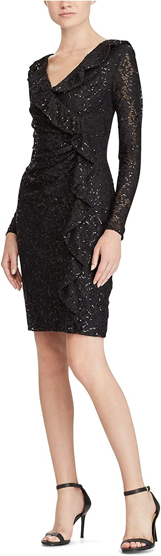 Lauren by Ralph Lauren Women's Ruffled Lace Dress