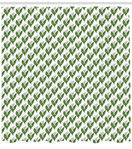 Lunarable Apothecary Shower Curtain, Symmetric and Repetitive Pattern with Lily of The Valley Print, Cloth Fabric Bathroom Decor Set with Hooks, 105' Extra Wide, Fern Green and White