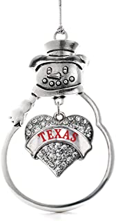 Inspired Silver - Texas Charm Ornament - Silver Pave Heart Charm Snowman Ornament with Cubic Zirconia Jewelry