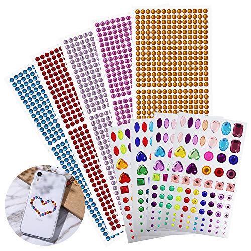 Etiqueta autoadhesiva de diamantes de imitación, AFUNTA 5 piezas de 6 mm de color sólido y 4 piezas de pegatinas diamantes de imitación de colores para manualidades de bricolaje, de múltiples formas