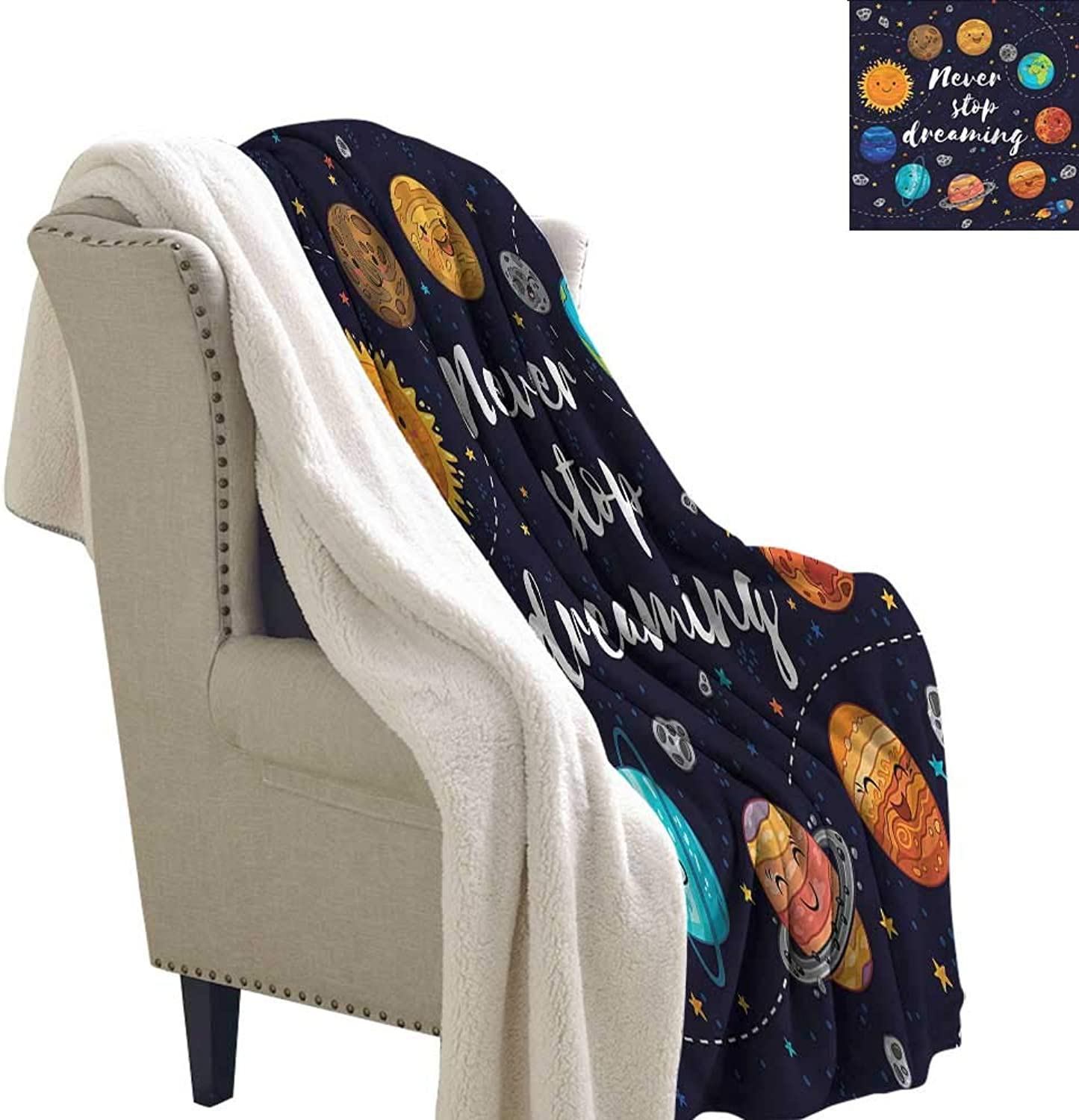 Beihai1Sun Quote Blanket Small Quilt Outer Space Star Cluster Sherpa Throws 60x32 Inch