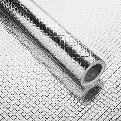 Niviy Aufkleber Küchen Aluminium Folie Selbstklebende Küchenfolie Hitzebeständig Tapete Öl-Resistent Wasserdicht Anti-Schimmel DIY Möbel Folie für Küchen, Schrank, Möbel40X500cm