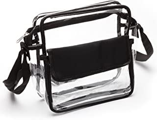 Clear See Through Cross-Body Messenger Bag Clear Purse, NFL & NHL Stadium Approved w Adjustable Strap