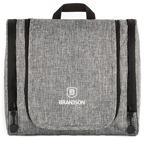 BRANDSON Kulturtasche zum Aufhängen - wasserabweisend, groß und geräumig – Kulturbeutel, Kosmetiktasche für Damen und Herren (26x12x22 cm, Grau)
