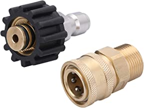 Challco Pressure Washer Adapter Set, Quick Connect Kit, Metric M22 15mm Female Swivel to M22 Male Fitting