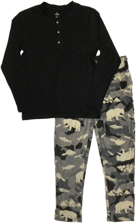 Mens 2pc Camo Bear & Fish Pajamas Sleep Set Fleece Lounge Pants & T-Shirt Set