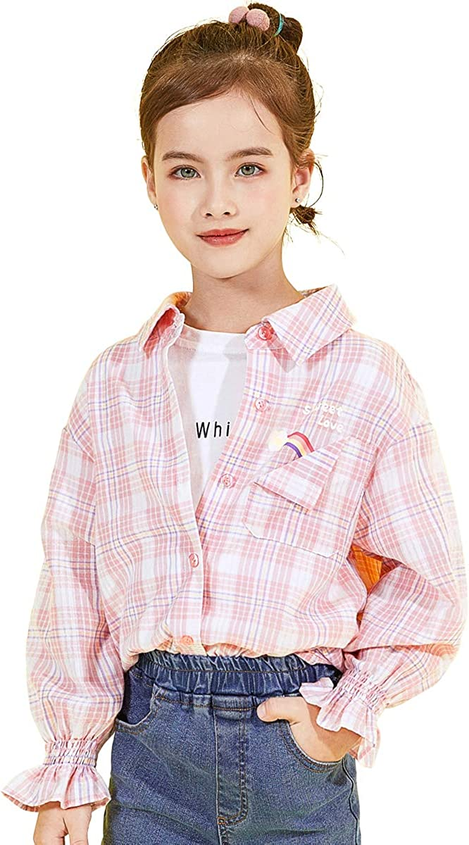 cicie Girls Blouses Cotton Plaid famous Button-Down Rare for Spring 3 Shirts
