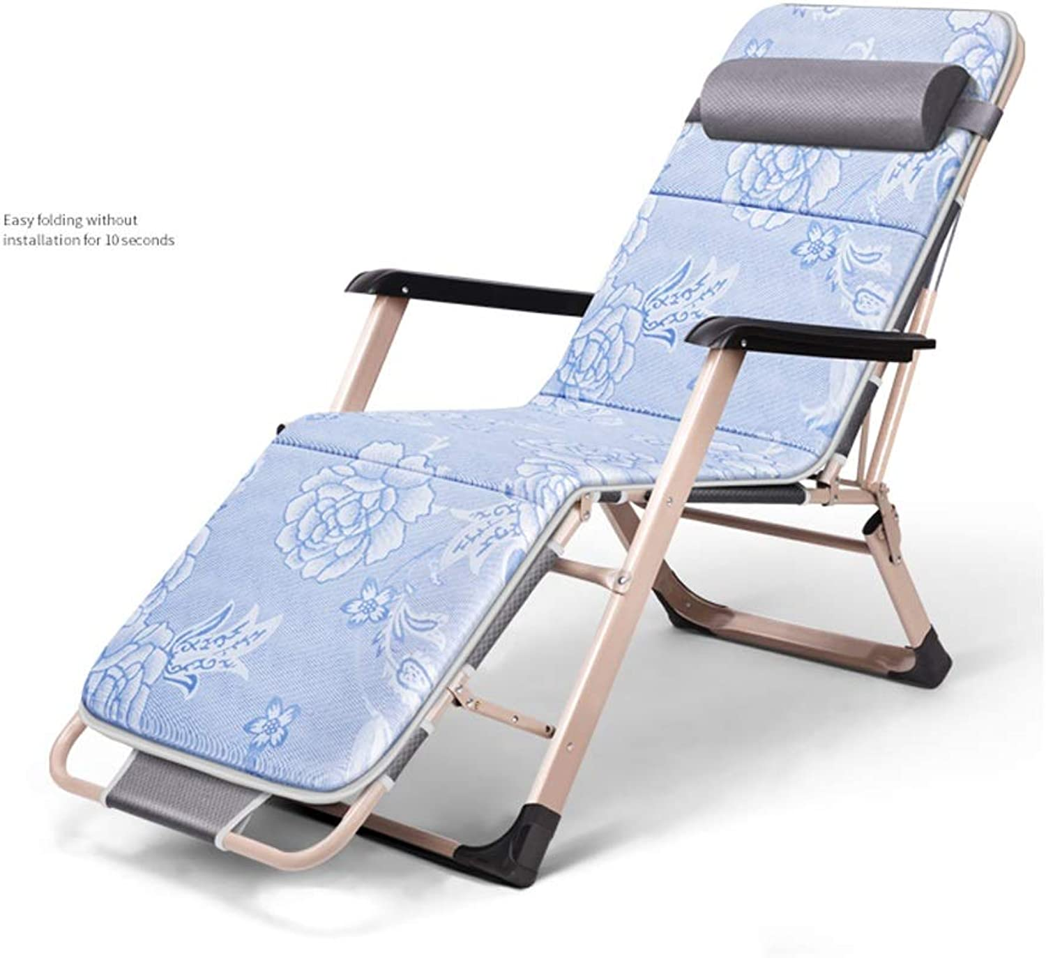 Single Outdoor Recliner with Ice Silk Pad,Simple Portable Folding Bed, Accompanying Bed, Cotton Pad Removable