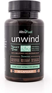 AltruFuel Unwind - All Natural 25 mg Hemp Extract with Melatonin and Valerian Root [Promotes Sleep, Muscle Recovery and Relaxation] - 30 Vegan Caps