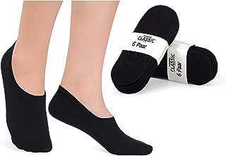 YouShow, 12 Pares Calcetines Invisibles Mujer Hombre Algodón Calcetines Cortos Elástco Con Silicona Antideslizante