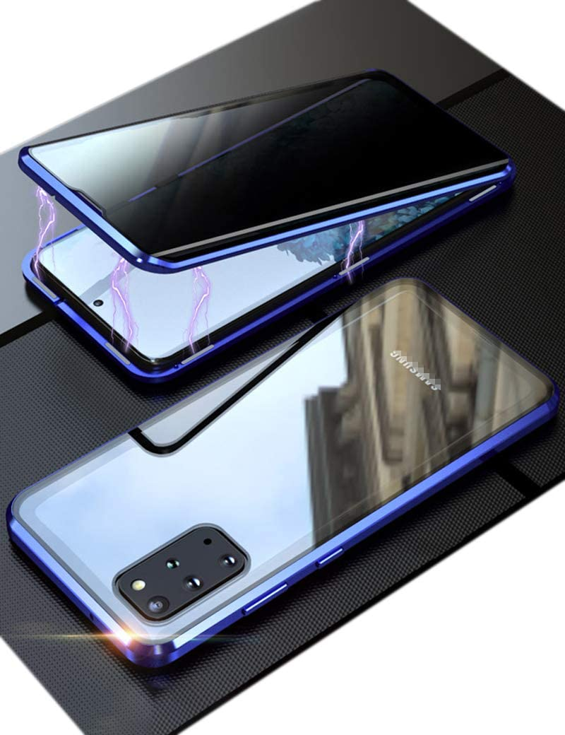 KumWum Privacy Case for Samsung Galaxy S20 Tempered Glass Front and Back Metal Bumper Magnetic Adsorption with Anti Peep Phone Cover - Blue