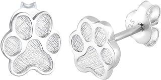 Elli Women's 925 Sterling Silver Xilion Cut Ear Paw Animal Pet Stud Earrings