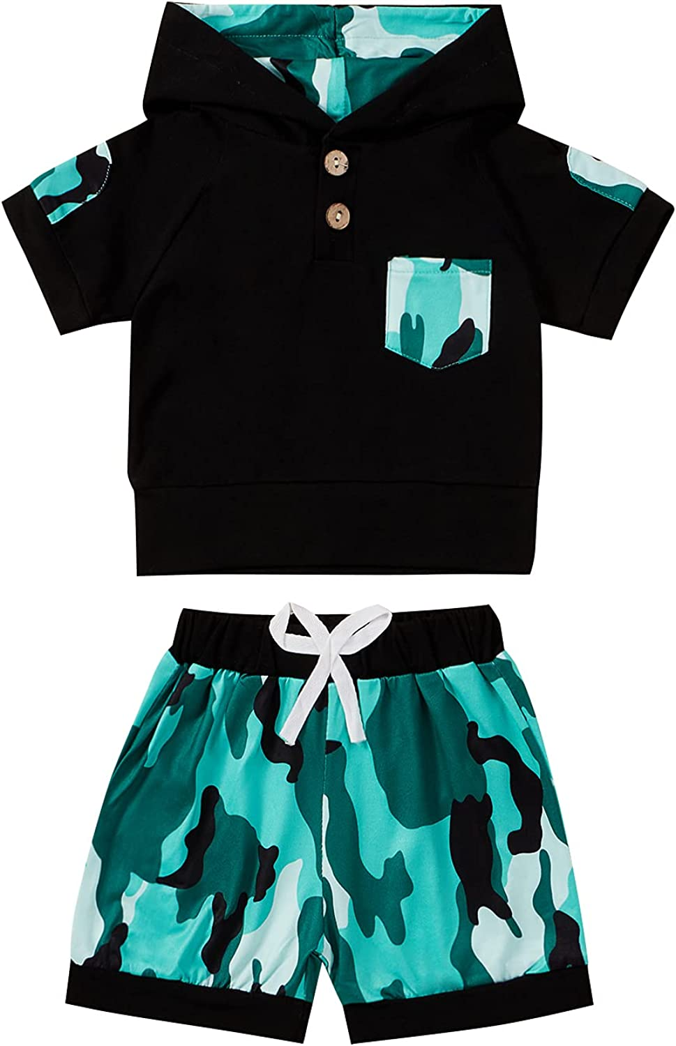 Toddler Baby Boy Short Sleeve Hooded Shirt Tops Camouflage Shorts with Drawstring Summer Clothes Set