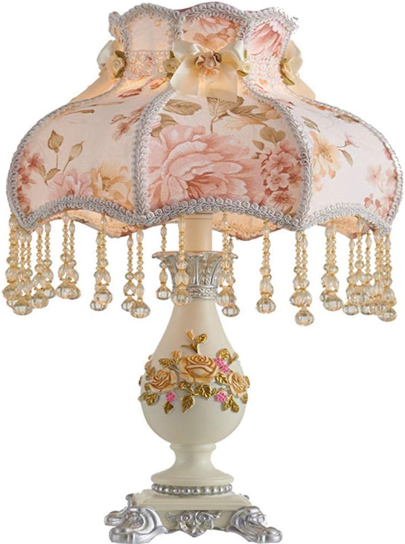 MZ Tischlampe im europischen Stil, Schlafzimmerlampe Kreativer Wohnraum Studie Warm Fabric Garten Dekoration Hochzeitstisch Lampe