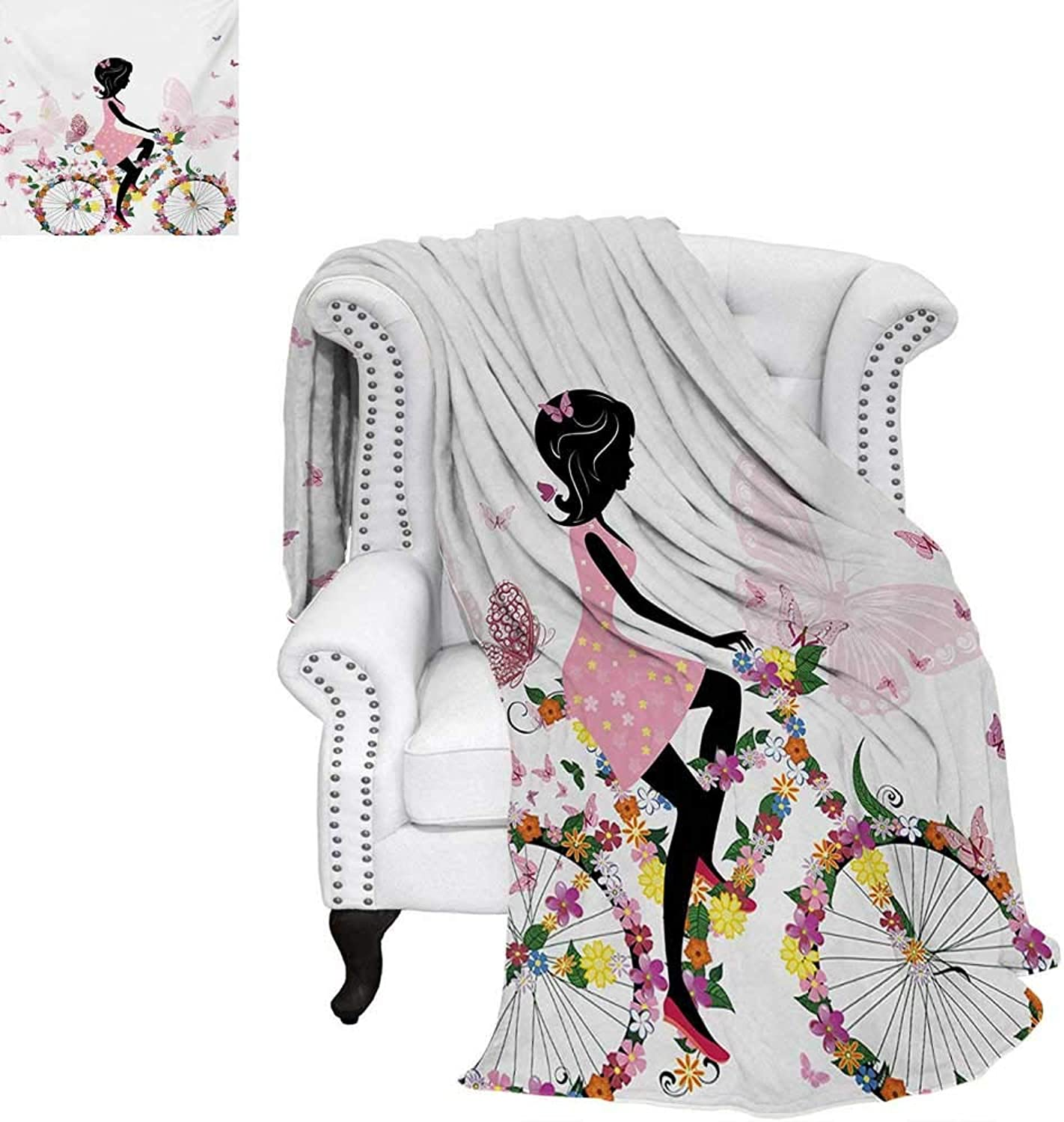 Warmfamily Bicycle Digital Printing Blanket Girl in a Pink Dress Riding a Bike with colorful Flowers and Romantic Butterflies Lightweight Blanket 60 x50  Multicolor
