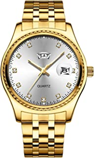 ساعات نسائية/رجالي ساعة نماذج الأزياء النسائية اللباس الأعمال فتاة ساعة الكوارتز - التقويم الأزواج الذهبي (Color : Man-B)