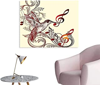 J Chief Sky Hummingbirds Decorations Art Decor Decals Stickers Flying Bird and Music Notes Clef Five Line Staff Musical Creative Artistic Ornate Poster Wall Prints for girs W48 xL32