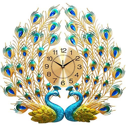 GGMWDSN Relojes de Pared Grandes, Reloj de Pared Moderno de Hierro, Gran Forma de Pavo Real 3D, Reloj Silencioso Que No Hace Tictac para Sala de Estar, Dormitorio, Espacio de Oficina