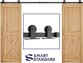 SMARTSTANDARD 10 FT Top Mount Double Sliding Barn Door Hardware Kit -Super Smoothly and Quietly -Simple and Easy to Install -Includes Step-by-Step Instruction -Fit 30