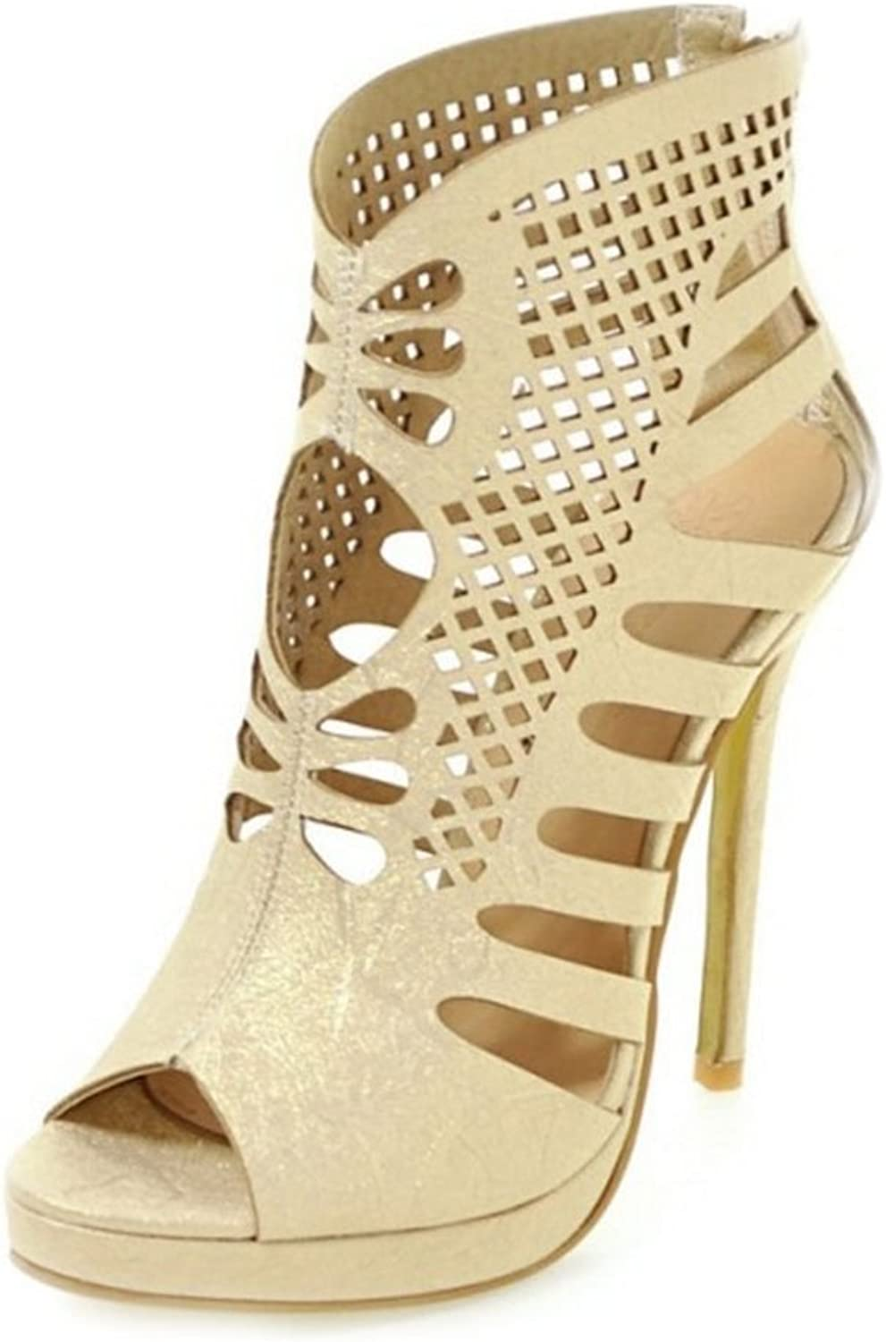 CUTEHEELS Women Gladiator Sandals with High Thin Heel and Hollowed-Out Roman Sandals with Mini Large