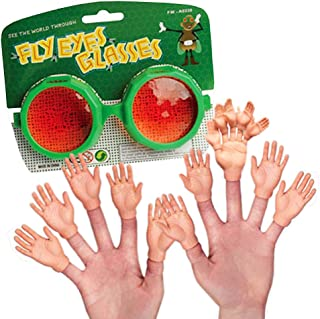 Archie McPhee Accoutrements 10 Pcs Finger Hands + 5 pcs Finger of Finger Hands + 1 pc US Toy Fly Eye Googly Eyes Assorted Colors