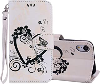 Good Embossed Heart Butterfly Pattern Horizontal Flip Leather Case for iPhone XR, with Card Slot & Holder & Wallet & Lanyard (Gold) Starxx (Color : Beige)