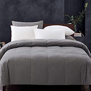WhatsBedding Gray Goose Duck Down Comforter 100% Cotton Feather Comforter - Lightweight Duvet Insert-Twin 64x88