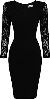 TAM WARE Womens Lace Long Sleeve Bodycon Zip Midi Dress