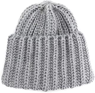 ZiWen Lu Handmade Knit hat Autumn and Winter Korean Casual Wool hat Warm Hooded hat Female (Color : Grey, Size : One Size)