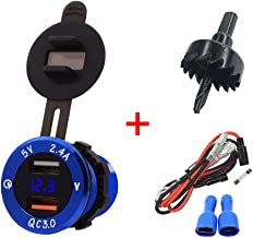 BUENNUS QC3.0 & 2.4A Dual USB Charger Socket,Aluminum Alloy Quick Charge USB Adapter Power Outlet Voltmeter for Car/Motorcycle/Marine/Boat/ATV with Waterproof Cap,3cm Hole Saw,23.6 Inch Cable (Blue)