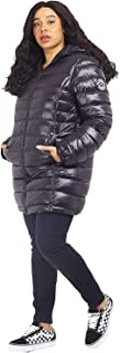 CHOCOLATE PICKLE New Womens Plus Size High Shine Finish Badge Detail Long Hood Puffer Padded Jacket Coats 18-24
