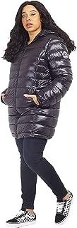 CHOCOLATE PICKLE New Womens Plus Size High Shine Finish Badge Detail Long Hood Puffer Padded Jacket Coats 18-24