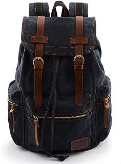 Vintage Mochilas de Lona para Hombre/Mujer Casual Backpack Canvas Rucksack (Negro)