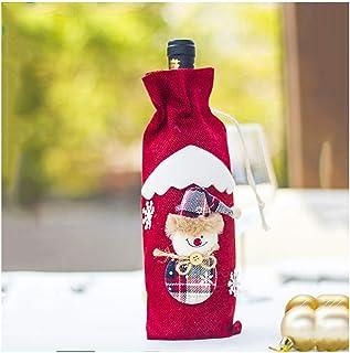 Forniture per le vacanze Cartone Animato Natale Set Vino Rosso, Set di Bottiglia di Vino di Tela da imballaggio, Decorazio...